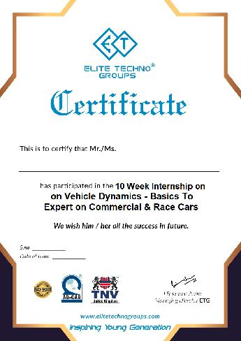 10-Week Internship on Vehicle Dynamics - Basics To Expert on Commercial & Race Cars